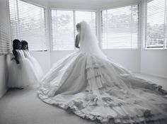 ruffled couture bridal gown with long train