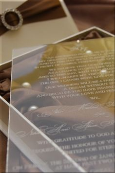 Amazing gathered chocolate silk boxed invitation with a clear invitation card, modern and chic! Scroll Wedding Invitations, Wedding Invitation Kits, Affordable Wedding Invitations, Winter Wedding Invitations, Wedding Stationary, Invitation Ideas, Wedding Cards, Diy Wedding, Dream Wedding