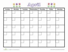 Second Grade Time Worksheets: April Calendar