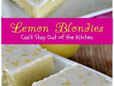 Cool, refreshing Lemon Blondies are filled with fresh lemon juice and zest in icing and blondies for a spectacular treat your family is sure to enjoy. Lemon Desserts, Lemon Recipes, Just Desserts, Dessert Recipes, Summer Desserts, Mini Tortillas, Lemon Curd Tart, Lemon Tarts, White Chocolate Cookies
