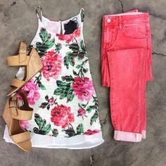 Soho Coral Skinny | Pocketful Of Roses Tank | Retriever By BC Footwear - Tan >> YES, PLEASE!