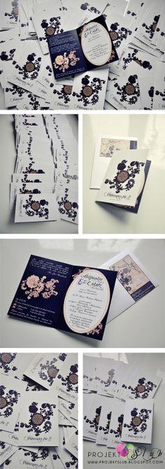 projekt ŚLUB - zaproszenia ślubne, oryginalne, nietypowe dekoracje i dodatki na wesele: Zaproszenia ślubne Z NUTĄ GRANATU
