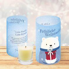 Weihnachtskarte 832 als Windlicht mit Eisbär zum Zusammenrollen und Teelicht in die Mitte stellen