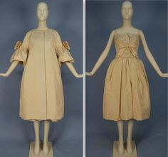 1950s CHRISTIAN DIOR SILK DRESS and COAT ENSEMBLE