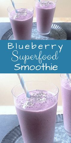 Blueberry Superfood Smoothie - Mom's Kitchen Handbook This purple powerhouse is so lip-smackingly tasty, you'd never guess it's packed with super foo Smoothie King, Smoothie Bowl, Smoothie Low Carb, Fruit Smoothies, Healthy Smoothies, Smoothie Recipes, Superfood Smoothies, Vegetable Smoothies, Oatmeal Smoothies