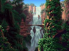Pixel art and color cycling [more in comments]. Tagged with cycling, pixel, pixel art Fantasy Landscape, Fantasy Art, Pixel Art Gif, Pixel Pixel, Html5 Canvas, Foto Gif, 8 Bit Art, Gif Animé, Animated Gif