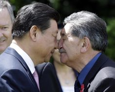 China's President Xi Jinping receives a hongi, a traditional Maori welcome, from Maori elder Lewis Moeau (R) as he arrives on the Government House grounds in Wellington. Reuters / Wednesday, November 19, 2014