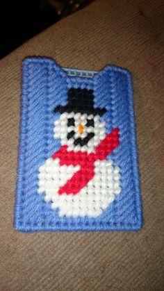Snowman gift card holder plastic canvas