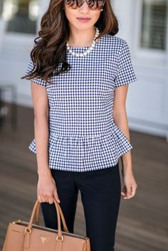 peplum top + navy pants + camel work tote = classic business casual office outfit