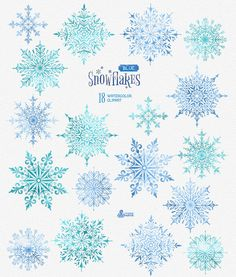 Snowflakes Blue. 18 Watercolor separate Elements, clipart, christmas, blue…