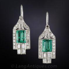 Orecchini di smeraldo e diamanti in stile Art Deco