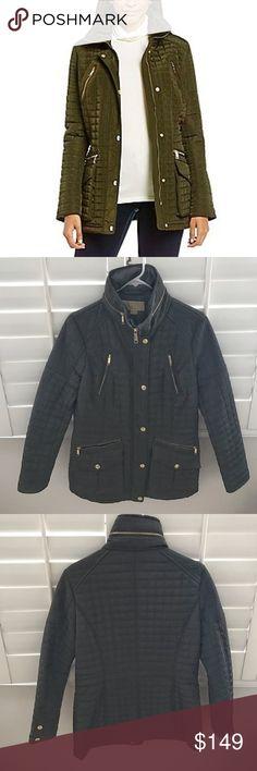 """MICHAEL KORS green quilted coat utility jacket Take a break from the typical olive green bomber jacket and wear this utility jacket coat instead.  Pit to pit 19"""" Sleeve 24"""" Shoulder 16"""" Length 30.5"""" Michael Kors Jackets & Coats Utility Jackets"""