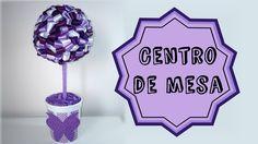 Faça você mesmo/DIY: Centro de mesa/Topiaria com fita de cetim
