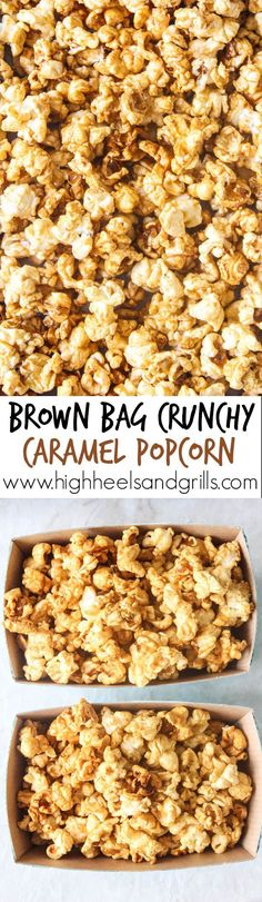 This Brown Bag Crunchy Caramel Popcorn is buttery, delicious, and so easy to make. It is all done in just the microwave, using Popcorn, and is a great snack idea that can be whipped up in minutes.