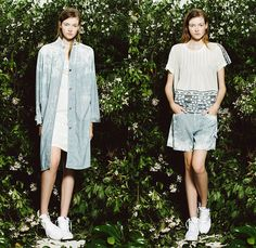 Sea New York 2015 Resort Womens Lookbook Presentation - 2015 Cruise Pre Spring Fashion Pre Collection - Engineer Railroad Stripes Pinstripes Denim Jeans Bleached Onesie Jumpsuit Coveralls Plaid Cutout Back Raw Hem Frayed Pleats Oversized Shirt 3D Laser Cut Perforated Grid Lattice Mesh Shorts Blouse Tunic Lace Skirt Frock Maxi Dress White Sweater Jumper Tulle Turtleneck Outerwear Coat Pants Trousers Animal Spots Safari Leopard Insects Butterflies Batik