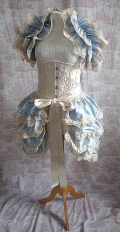 Steampunk Bustle  Silk Tie On Bustle Skirt Lolita Victorian ICE MAIDEN  By Ophelias Folly