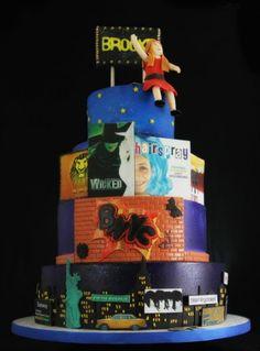 5 Bar & Bat Mitzvah Cake Ideas - New York & Broadway Theme Cake by Butterfly Bakeshop - mazelmoments.com