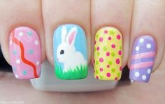 I have a collection of Easter nail art designs, ideas, trends & stickers of These nail art designs are as funky and refreshing as showing how the event of Easter should be celebrated with all colors and life. Easter Nail Designs, Easter Nail Art, Nail Art Designs, Christmas Manicure, Christmas Nail Art, Holiday Nails, Cute Spring Nails, Spring Nail Art, Nail Art Halloween