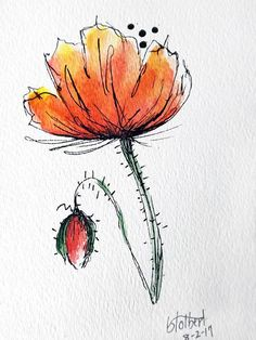 "Original artwork of a red poppy rendered in pen, ink and watercolor. It is titled ""Open Red Poppy With Bud"" and is signed and dated at the bottom with the title on the back. This lovely free spirited watercolor poppy seems to be blowing in the wind. It is tilted at such an angle"