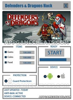 Defenders & Dragons Hack Cheat 2016 tool download. With updated Defenders & Dragons Hack you will have just fun. Try Defenders & Dragons Hack tool. Defenders & Dragons Hack working with last update.