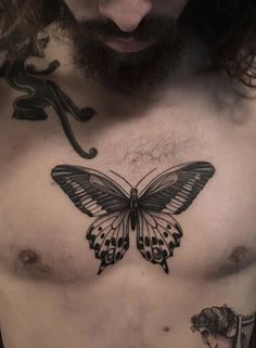 35 Stunning Small Chest Tattoos Design For Guys Rose Tattoos, Leg Tattoos, Body Art Tattoos, Tatoos, Ribbon Tattoos, Mens Butterfly Tattoo, Butterfly Tattoo On Shoulder, Future Tattoos, Tattoos For Guys