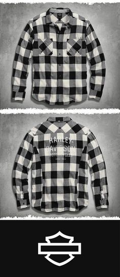 The classic lumberjack flannel shirt into a version all our own.   Harley-Davidson Men's Buffalo Check Shirt