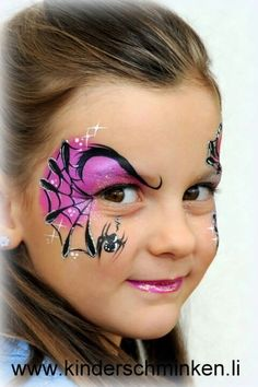 Awesome face painting - cheeky eye and spiderweb