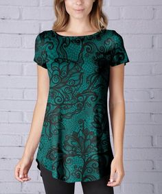Another great find on #zulily! Green & Black Paisley Cap-Sleeve Tunic - Plus Too #zulilyfinds