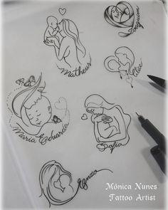 Mês das mães entrando... bóra criar modelinhos para as mamães que querem homenagear seus pequenos tesouros! #tattoodesigner #tattoomae…