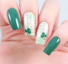 St. Patrick's Day manicure using our Clover Nail Decals and Brick Nail Stencils both found at snailvinyls.com