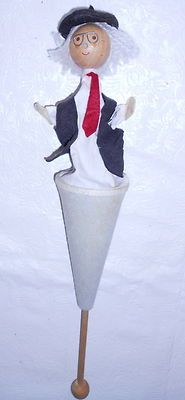 Vintage Pop Up Cone Puppet w Beret Glass Vest Wooden Head and Pull Stick | eBay