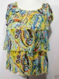 Ruffled-Top-Blouse-Colorful-Summer-Short-Sleeves-Sz-S-Off-Shoulder-NY-COLLECTION