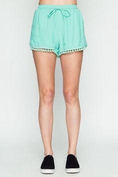 Mint Pom Pom Trim Shorts (final sale)