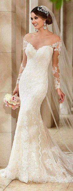 Beautiful lace off shoulder wedding gown in a dropped waist, mermaid, fit and flare, trumpet style. 2016 wedding gown, wedding dress trends and styles. 2016 Wedding Dresses, Wedding Attire, Bridal Dresses, Wedding Gowns, Bridesmaid Dresses, Lace Wedding, Dresses 2016, Spring Wedding, Elegant Wedding