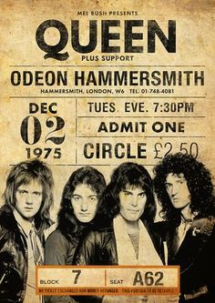 Queen concert poster replica for their 1975 concert at the Odeon Hammersmith! 18 x 24 and perfect for framing Vintage Concert Posters, Posters Vintage, Rock Vintage, Concert Rock, Queen Poster, Queen Band, Tour Posters, Concert Tickets, Pop Rocks