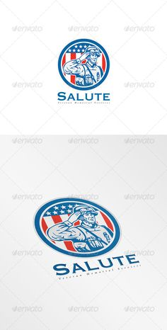 Salute Veteran Memorial Services Logo. Logo showing illustration of an American soldier serviceman saluting with stars and stripes