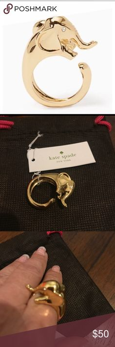 Kate Spade Elephant Wrap Ring - Size 7 Super cute Kate Spade Ring!  The elephant wraps perfectly around your finger. The eyes have white rhinestones adding a little bling. See matching Pendant and Bracelet in other listing. Comes with dust bag. kate spade Jewelry Rings