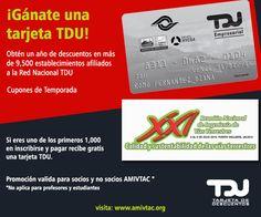 Aprovecha la promoción al ser de los 1000 primeros en registrarse para obtener tu tarjeta TDU, más información www.amivtac.org