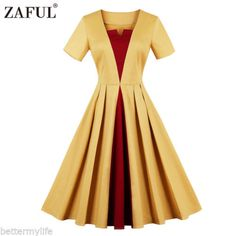 Zaful Women Vintage Short Sleeve Party Dress Bump-Color Retro Swing Dress b7538d3ef4c6