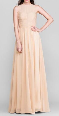 Sheath/Column Jewel Floor-length Chiffon Bridesmaid Dress