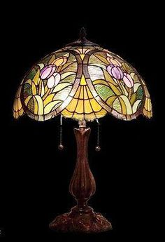 Tiffany style Stained glass Table Lamp by Stained Glass Table Lamps, Stained Glass Light, Tiffany Stained Glass, Tiffany Glass, Lampe 3d, Lampe Art Deco, Antique Lamps, Vintage Lamps, Victorian Lamps