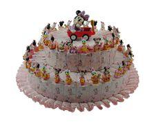 Torta bomboniera nascita Minnie e Daisy con 54 fette confetti a scelta inclusi nel prezzo.