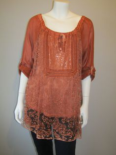 Lagenlook tunic 18379 burnt orange