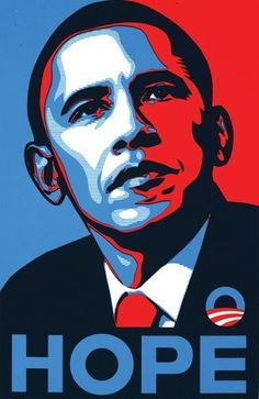 Probably the most duplicated poster ever—Shephard Fairey's depiction of Democratic candidate Barack Obama, 2008.