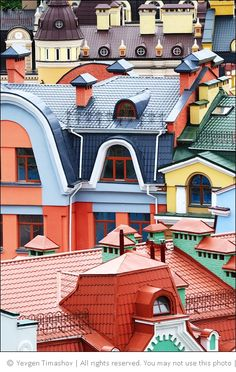 Rooftops in Vozdvizhenka, Kiev Ukraine >> This is something I will need to see, so wonderful! Places Around The World, The Places Youll Go, Places To See, Around The Worlds, Colourful Buildings, Beautiful Buildings, Amazing Architecture, Architecture Details, Beautiful World