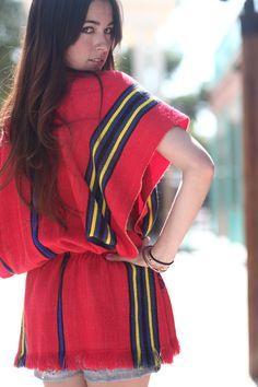 Red Striped Mexican Blanket Short Sleeve Poncho - Arriba. $45.00, via Etsy.