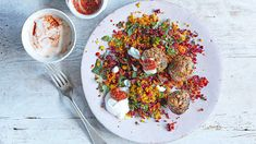 Image: Veal meatballs with herby beetroot couscous