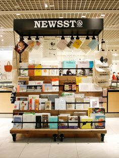News stand with the usual items and maybe cards from local printer NEWSST&Premium at The Conran Shop Japan Kiosk Design, Display Design, Booth Design, Retail Design, Store Design, Retail Fixtures, Book Cafe, Mobile Shop, Pop Up Shops