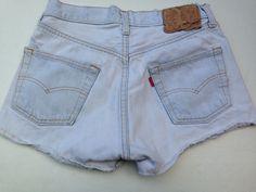 "Levis Vintage 30"" High Waist Distressed Cutoff Shorts Bleach hemmed jeans 501 #Levis #Denim"