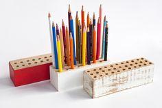 Pencil holder. Idea, handpainted, handmade, wood, wood crafts, reclaimed, diy, decor, diyromania, shabby chic, children.
